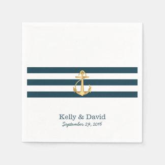 Serviettes En Papier Le bleu marine d'ancre d'or barre le mariage