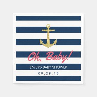 Serviettes En Papier Le bleu marine nautique d'ancre d'or barre le baby