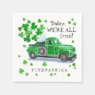 Serviettes En Papier Le camion vintage de vert du jour de St Patrick