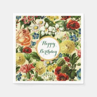 Serviettes En Papier Le cru fleurit le pays floral de monogramme