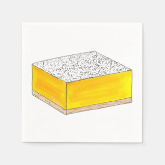 Serviettes En Papier Le dessert de pâtisserie de barre carrée de citron