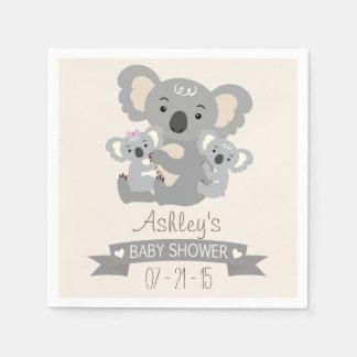 Serviettes En Papier Le koala mignon jumelle le baby shower
