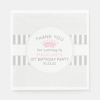 Serviettes En Papier Le point gris barre les serviettes roses de fête