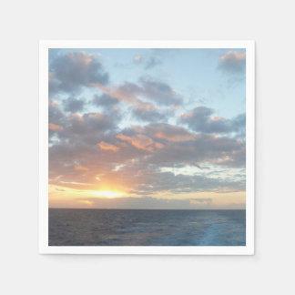 Serviettes En Papier Lever de soleil au paysage marin de pastel de la