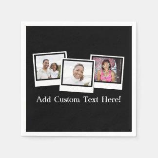 Serviettes En Papier L'instantané 3-Photo personnalisé encadre la