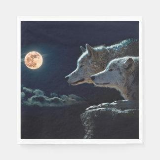 Serviettes En Papier Loups de loup hurlant à la pleine lune