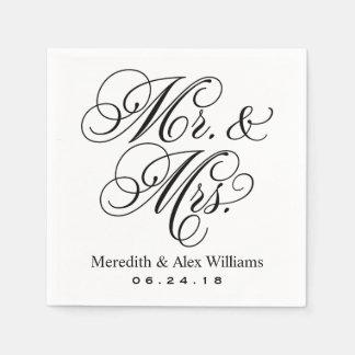 Serviettes En Papier M. et Mme Napkins   noir et blanc
