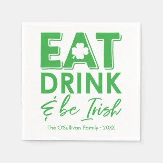 Serviettes En Papier Mangez, boisson et soyez le jour de St Patrick