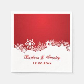 Serviettes En Papier Mariage blanc rouge d'hiver de flocon de neige
