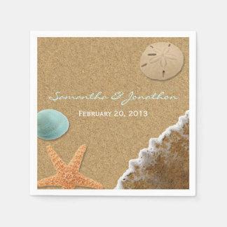 Serviettes En Papier Mariage de thème de sable et de plage de coquilles