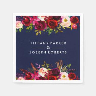 Serviettes En Papier Mariage floral de Bourgogne de jardin botanique de