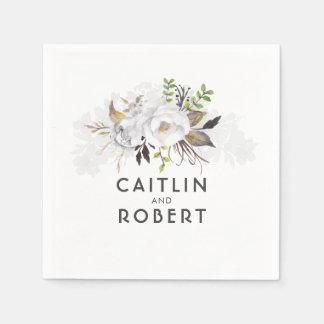 Serviettes En Papier Mariage floral élégant blanc