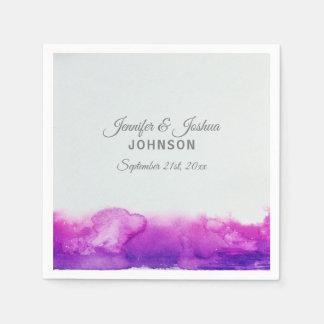 Serviettes En Papier Mariage gris violet de prune pourpre d'aquarelle