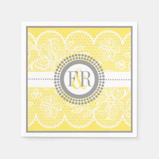 Serviettes En Papier Mariage jaune et blanc de motif de dentelle