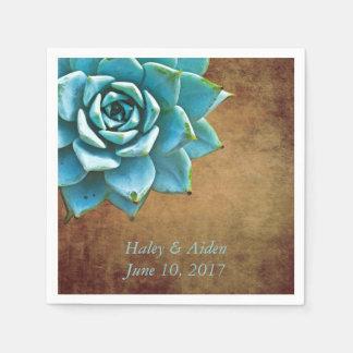 Serviettes En Papier Mariage ou fiançailles succulent Brown rustique