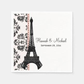 Serviettes En Papier Mariage rose de Tour Eiffel de damassé