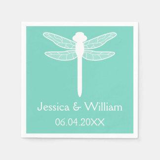 Serviettes En Papier Mariage turquoise de libellule