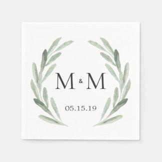 Serviettes En Papier Mariage vert rustique de monogramme de guirlande