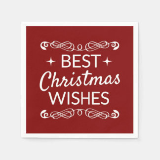 Serviettes En Papier Meilleurs souhaits rouges et blancs de Noël