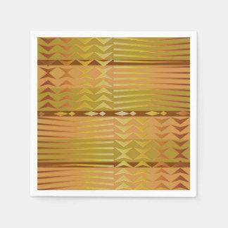 Serviettes En Papier Modèle géométrique africain d'or ethnique