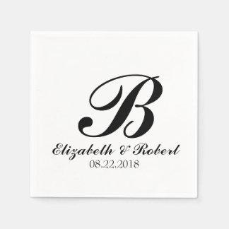 Serviettes En Papier Monogramme blanc noir de mariage