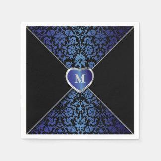 Serviettes En Papier Monogramme bleu-foncé et noir élégant de la