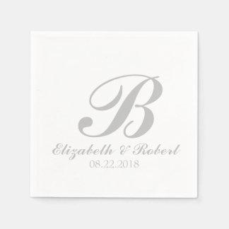 Serviettes En Papier Monogramme de mariage de blanc gris de ruban