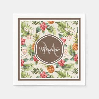 Serviettes En Papier Monogramme floral de Brown d'ananas tropical