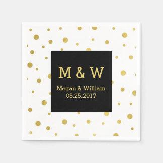 Serviettes En Papier Monogramme noir de mariage de confettis d'or blanc
