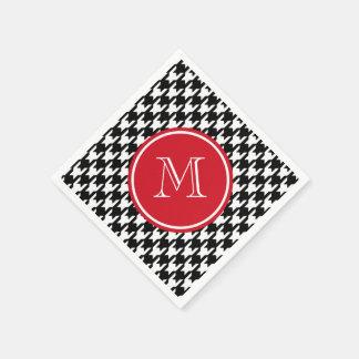 Serviettes En Papier Monogramme noir et blanc de rouge de pied-de-poule