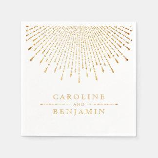 Serviettes En Papier Monogramme vintage de mariage d'or de deco