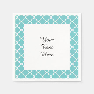 Serviettes En Papier Motif blanc turquoise de Quatrefoil de Marocain
