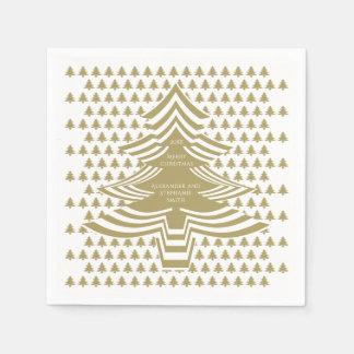 Serviettes En Papier Motif d'arbre de police d'image d'or/Noël blanc