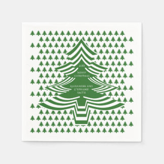 Serviettes En Papier Motif d'arbre de police d'image Noël vert/blanc