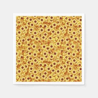 Serviettes En Papier Motif de tournesol - or, jaune et brun
