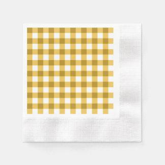 Serviettes En Papier Motif jaune et blanc de contrôle de guingan