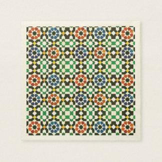 Serviettes En Papier motif marocain de couleur des années 1970