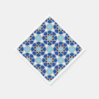 Serviettes En Papier Motif marocain géométrique islamique dans le bleu