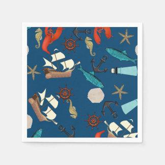 Serviettes En Papier Motif nautique sur le bleu marine