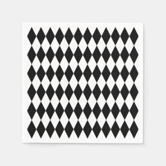 Serviettes En Papier Motif noir et blanc de harlequin de diamant