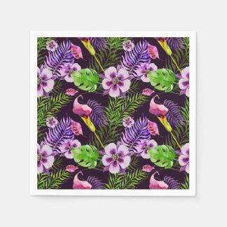 Serviettes En Papier Motif tropical pourpre noir d'aquarelle de flore