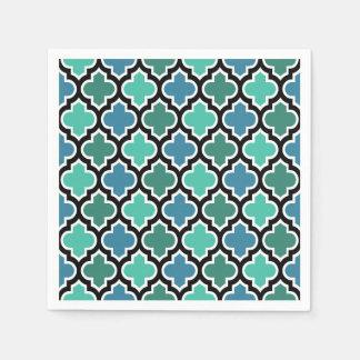 Serviettes En Papier Motif turquoise de Quatrefoil de bleu de turquoise