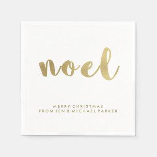 Serviettes En Papier Noël de typographie d'or de Faux de Noel