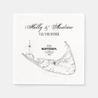Serviettes En Papier Noir vintage de marine de carte de mA d'île de