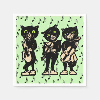 Serviettes En Papier Notes vintages de musique de chats noirs de