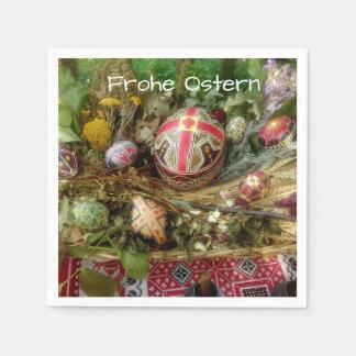Serviettes En Papier Oeufs de pâques peints à la main Ostern