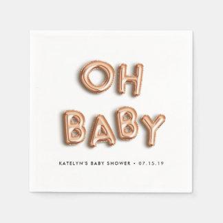 Serviettes En Papier Oh baby shower rose d'or du bébé |
