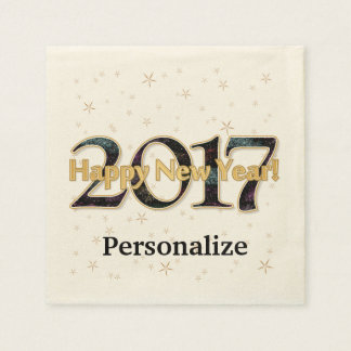 Serviettes En Papier Or de feux d'artifice d'étoiles de la bonne année