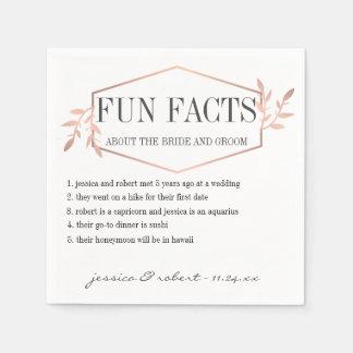 Serviettes En Papier Or rose élégant d'anecdotes amusantes personnalisé