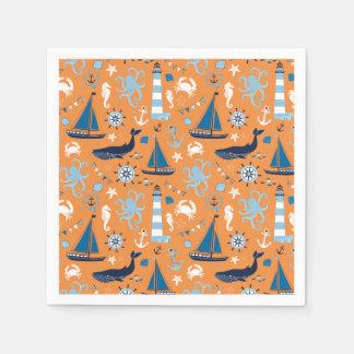 Serviettes En Papier Orange nautique d'océan